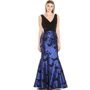 XSCAPE Brocade Illusion Trumpet Evening Gown Black